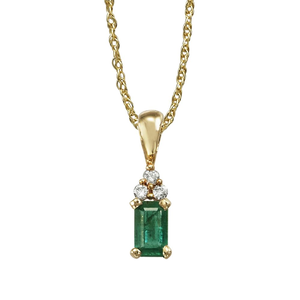 14K Yellow Gold Emerald/Diamond Pendant (With Chain)