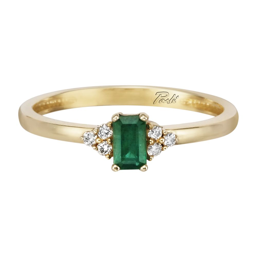 14K Yellow Gold Emerald/Diamond Ring