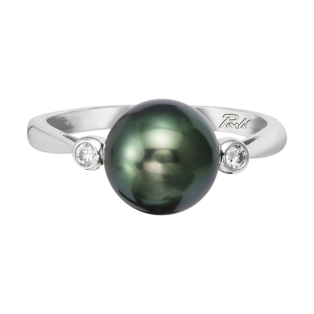 14K White Gold Tahitian Pearl 9mm/Diamond Bezel Ring