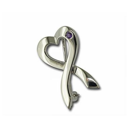 Sterling Silver Amethyst Ribbon Pin | AAC001A2XSI