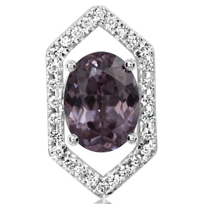 14K White Gold Color Changing Garnet/Diamond Lapel Pin with Nickel Plate Post and Back | AGCOV945205W