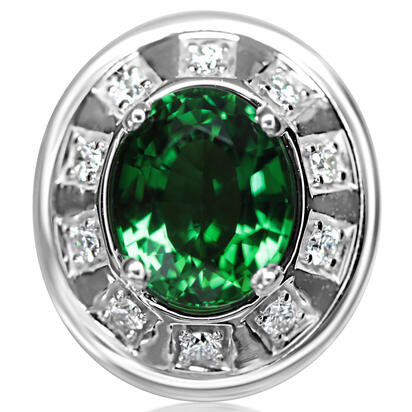 14K White Gold Chrome Tourmaline/Diamond Lapel Pin with Nickel Plate Post and Back | AGHOV750221W