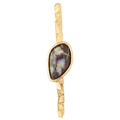 14K Yellow Gold Australian Boulder Opal Lapel Pin with Yellow Plated Post and Back | AMBO1A775C