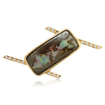 14K Yellow Gold Aust Boulder Opal/Diamond Lapel Pin with Yellow Plated Post & Back | AMBO2A2740C