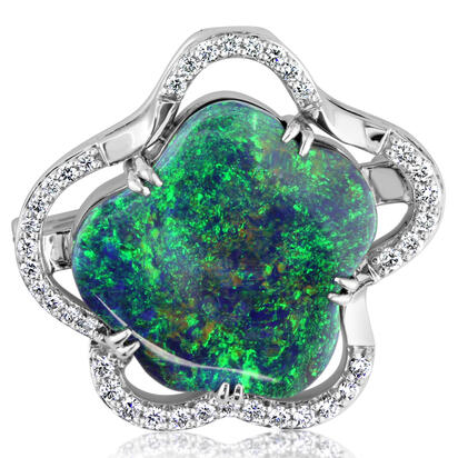 18K White Gold Australian Black Opal/Diamond Brooch Pin/Pendant