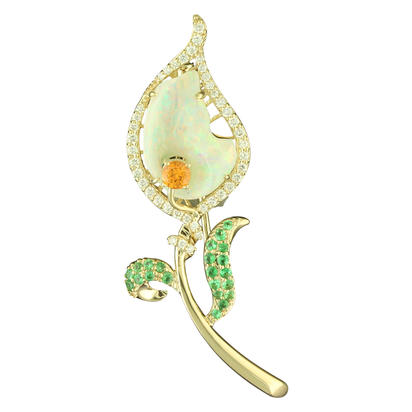 14K Yellow Gold Australian Opal/Diamond Pin | ANLOFF100331CI