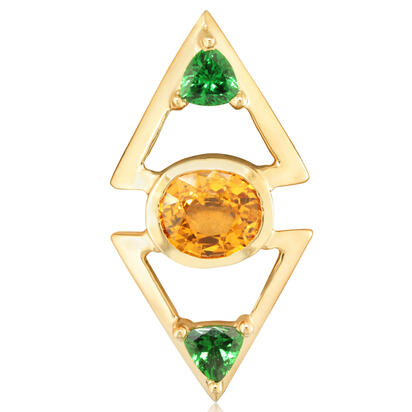 14K Yellow Gold Mandarin Garnet/Tsavorite Lapel Pin with Yellow Plated Post and Back | ASEOV833318C