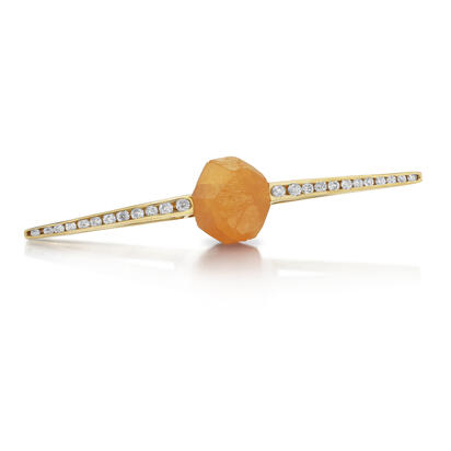 14K Yellow Gold Mandarin Garnet/Diamond Lapel Pin with Yellow Plated Post and Back | ASESPECI2A762C