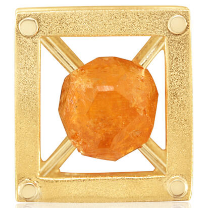 14K Yellow Gold/W Mandarin Garnet Lapel Post with Yellow Plated Post and Back