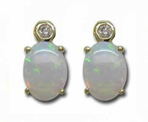 14K Yellow Gold Australian Opal/Diamond Earrings | E57DRSN2I