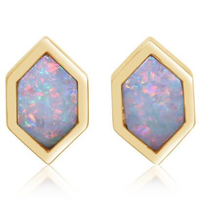 14K Yellow Gold Australian Opal Earrings | ECO060N1XC