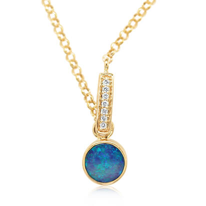 14K Yellow Gold Australian Opal Doublet/Diamond Necklace | NPF851AD2C