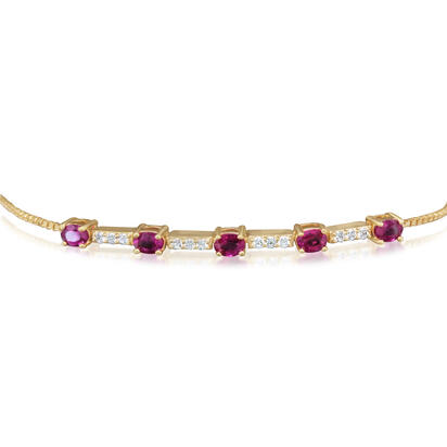14K Yellow Gold Ruby/Diamond Bracelet | BCC210R12CI