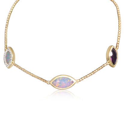 14K Yellow Gold Australian Opal/Purple Garnet Bracelet