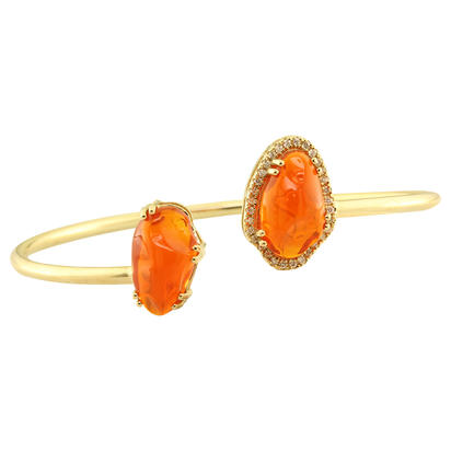 14K Yellow Gold Mexican Fire Opal/Diamond Bracelet | BFOFF40795C
