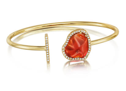 14K Yellow Gold Mexican Fire Opal/Diamond Bracelet | BMFOFF1233C