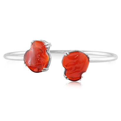 14K White Gold Mexican Fire Opal Bracelet
