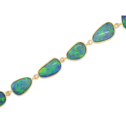 14K Yellow Gold Natural Opal Bracelet