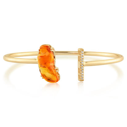 14K Yellow Gold Fire Opal/Diamond Bracelet