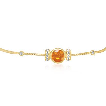 14K Yellow Gold Fire Opal/Diamond Bolo Bracelet | BPF235FO2CI