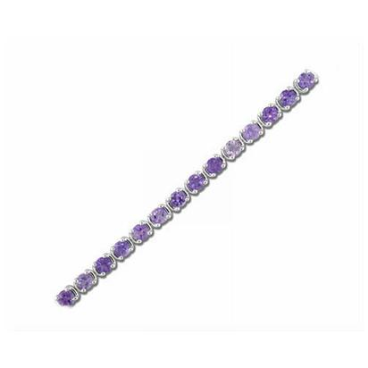 Sterling Silver 4mm Round Amethyst Bracelet 7.5"