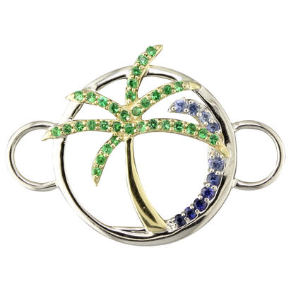 Sterling Silver /14K Yellow Gold Graduated Blue Sapphire/Tsavorite Palm Tree Wave Bracelet Char | CMC054GSXNI