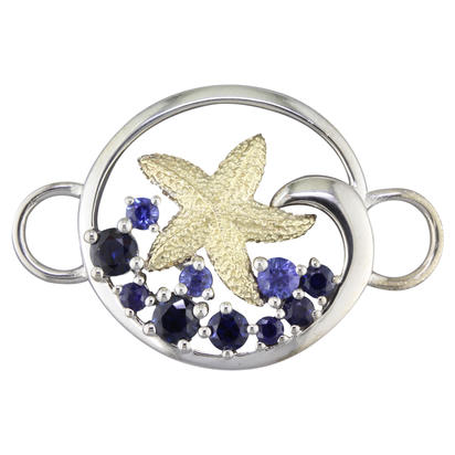 14K Yellow Gold/Sterling Silver Graduated Blue Sapphire Starfish Bracelet Charm | CSL031GSXNI
