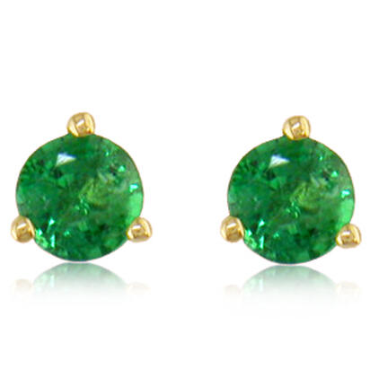 14K Yellow Gold Emerald Martini Earrings | E402MHSE3K
