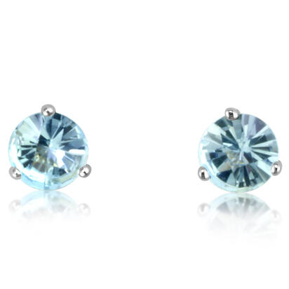 14K White Gold Checkerboard Aquamarine Martini Earrings | E502MVSQCW