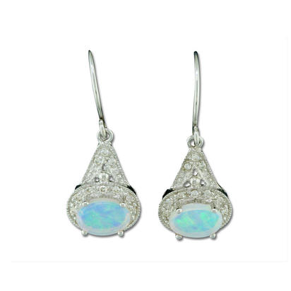 14K White Gold #1 Opal/Diamond Earrings | E57DAIN1WI