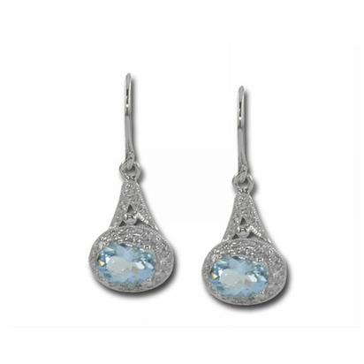 14K White Gold Aquamarine/Diamond Earrings | E57DAIQ2WI