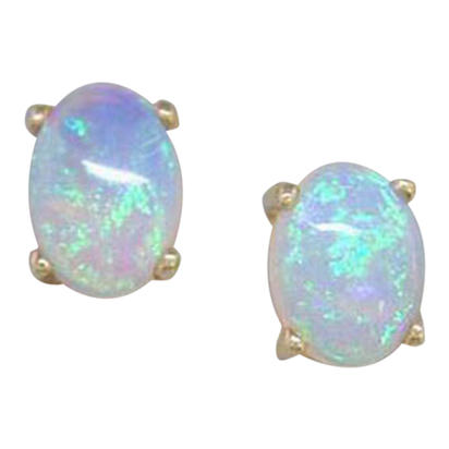 14K White Gold Australian Opal Earrings | E57XUSN0W