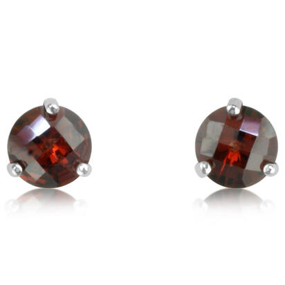 14K White Gold Checkerboard Garnet Martini Earrings | E602MVSGCW