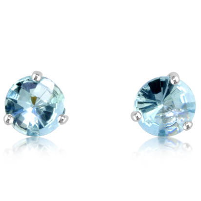 14K White Gold Checkerboard Aquamarine Martini Earrings | E602MVSQCW