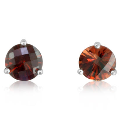 14K White Gold Checkerboard Garnet Martini Earrings | E702MVSGCW