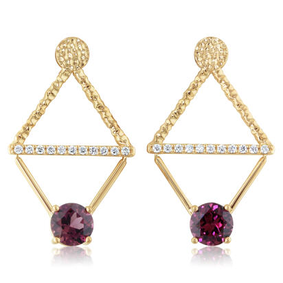 14K Yellow Gold Rhodolite Garnet/Diamond Earrings | E80L2440C