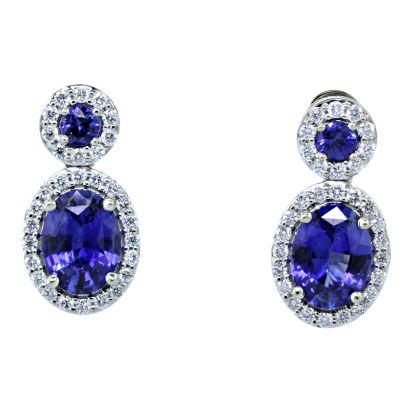 18K White Gold Blue Sapphire/Diamond Earrings | E86S0234QI