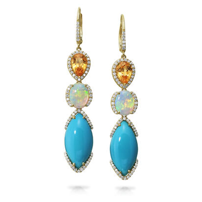 14K Yellow Gold Arizona Turquoise/Australian Opal/Mandarine Garnet/Diamond Earrings | EAQMQ9851244C