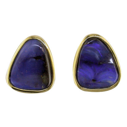 14K Yellow Gold Boulder Opal Small Plain Bezel Earrings | EB01-7I