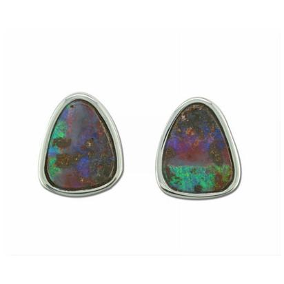 Sterling Silver Boulder Opal Small Plain Bezel Earrings | EB01S-6I