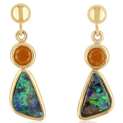 14K Yellow Gold Boulder Opal/Fire Opal Earrings | EB10040FOI