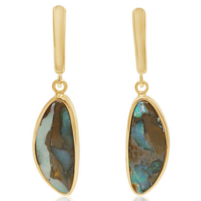 14K Yellow Gold Boulder Opal Plain Bezel Leverback Earrings | EB13-7I