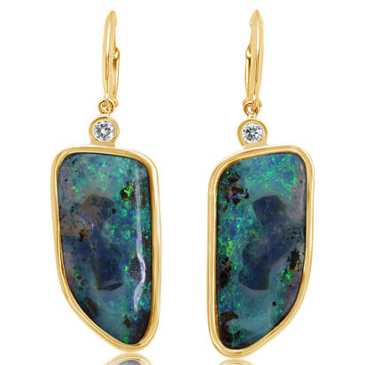 14K Yellow Gold Boulder Opal/Diamond Earrings | EBOFF6303767C