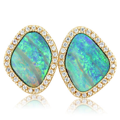14K Yellow Gold Australian Boulder Opal/Diamond Earrings | EBOFF673754C