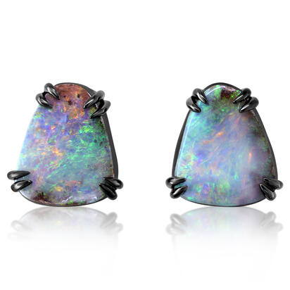 Blackened Sterling Silver Australian Boulder Opal Bezel Earrings | EBR0011CX5I