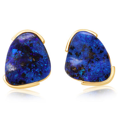 14K Yellow Gold Australian Boulder Opal Earrings | EBR0741AXC