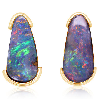 14K Yellow Gold Australian Boulder Opal Earrings | EBR0741BXC