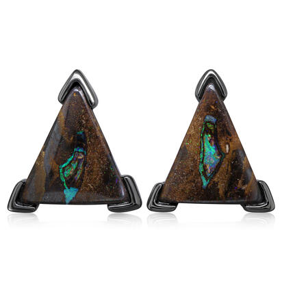 Blackened Silver Australian Boulder Opal Earrings | EBR0771EX5I