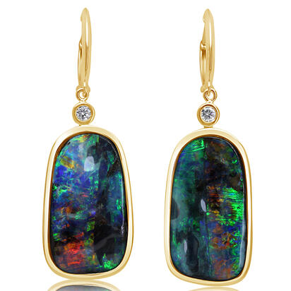 14K Yellow Gold Boulder Opal/Diamond Earrings | EBR3505A2C