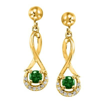 14K Yellow Gold Emerald/Diamond Earrings with Ball Post | ECC034E23CI-BP